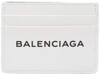 Balenciaga white leather logo cardholder
