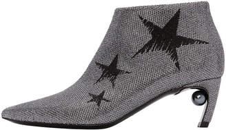 Nicholas Kirkwood Mira Star Jacquard Low Pearl-Heel Booties