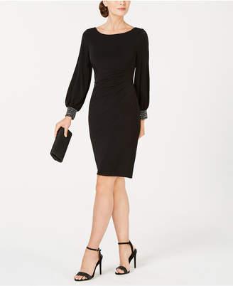 Jessica Howard Petite Embellished-Cuff Sheath Dress