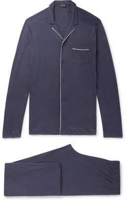 Hanro Piped Cotton-Jersey Pyjama Set - Men - Blue