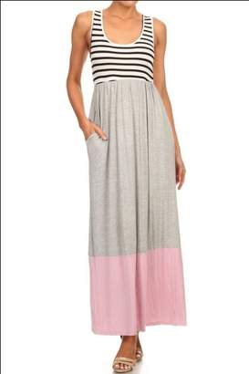 Musa M USA Stripe/colorblock Jersey-Knit Maxidress