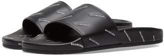 Balenciaga All Over Logo Leather Slide