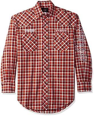 Wrangler Men's PBR Long Sleeve Snap Front Western Logo Shirt