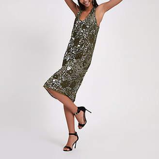 River Island RI Studio khaki sequin embellished dress