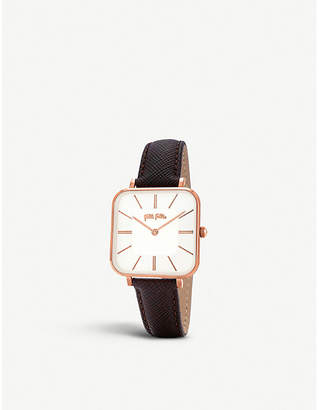 Folli Follie Timeless Bonds rose gold-plated stainless steel and leather watch