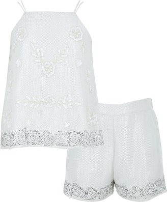 River Island Girls White sequin embellished cami outfit