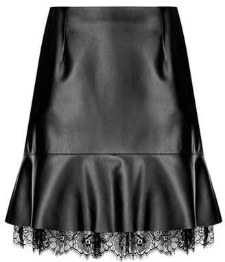 City Chic Lace Trim Faux Leather Skirt