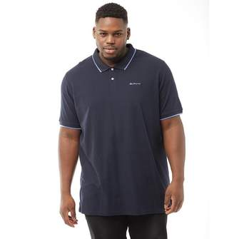Ben Sherman Plus Size 2B Short Sleeve Tipped Pique Polo Navy