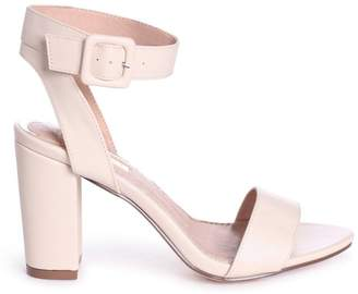 b6b95d6d69d BEIGE Linzi MILLIE Nappa Open Toe Block Heel With Ankle Strap And Buckle  Detail