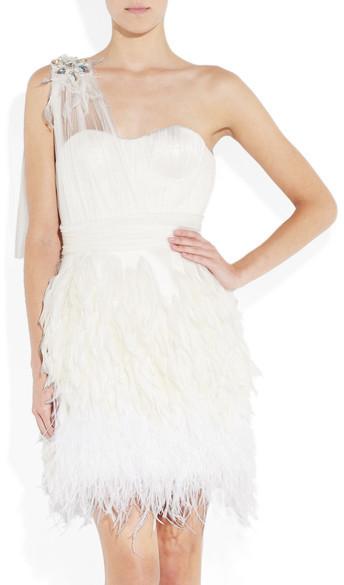 Matthew Williamson Feather-trimmed Silk-tulle Mini Dress - Off-white