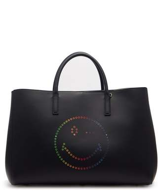 Anya Hindmarch Ebury Wink Smiley Leather Tote - Womens - Navy Multi