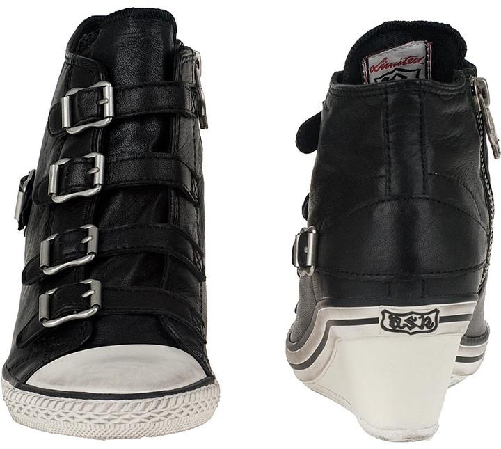 Ash Genial Wedge Sneaker White/Black Leather