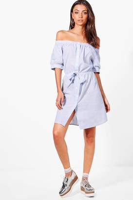 boohoo Tall Off Shoulder Tie Front Dress