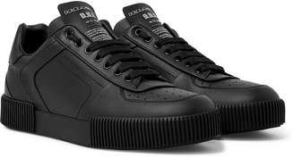 Dolce & Gabbana Logo-Appliqued Rubber-Trimmed Leather Sneakers