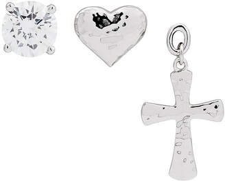 Silver Cross FINE JEWELRY Forever Inspired White Cubic Zirconia Sterling 3 Pair Earring Set
