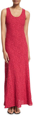 Fuzzi Floral-Embroidered Lace Maxi Dress $350 thestylecure.com