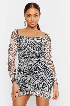 5ac7eef1ce035 boohoo Mesh Animal Print Ruched Dress