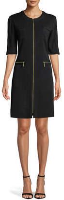 Misook Zip-Front Short-Sleeve Shirtdress