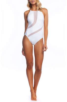 La Blanca Triple Threat High-Neck Mesh One-Piece Swimsuit