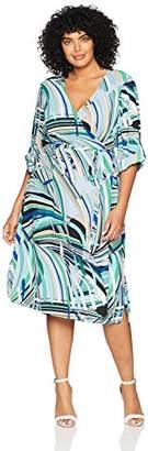 Adrianna Papell Women's Size Plus MILIO Maze MIDI WRAP Dress