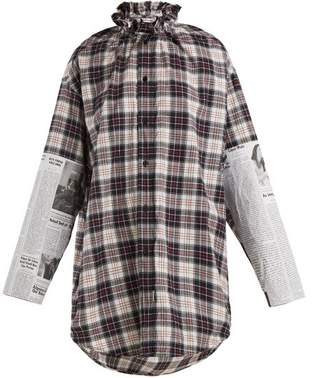Balenciaga Oversized Checked Brushed Cotton Shirt - Womens - White Multi
