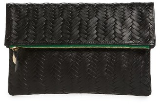 Clare V. Woven Leather Clutch - Black $235 thestylecure.com