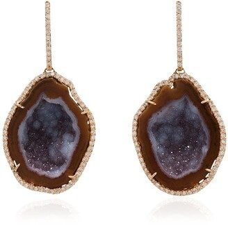 Kimberly Mcdonald Red gold drop earrings with red and purple geode and diamond bezel