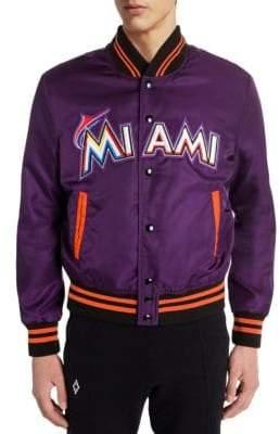Marcelo Burlon County of Milan Men's Miami Marlins Satin Bomber Jacket - Violet Multi - Size XS