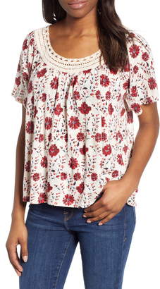 Lucky Brand Crochet Neck Top