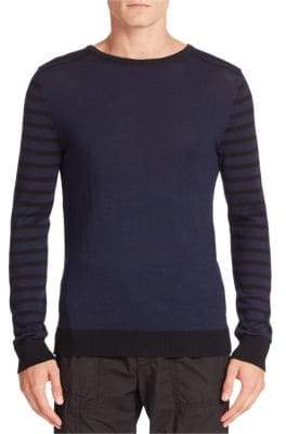 Tomas Maier Wool Striped Sleeve Pullover