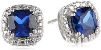 Sterling Silver Created Sapphire Cushion-Cut Stud Earrings