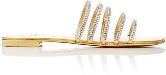 Giuseppe Zanotti Women's Crystal-Embellished Leather Slide Sandals $695 thestylecure.com