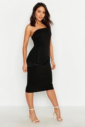 boohoo Bardot Waist Peplum Midi Dress