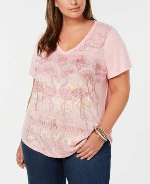 Style&Co. Style & Co Plus Size V-Neck Graphic T-Shirt, Created for Macy's