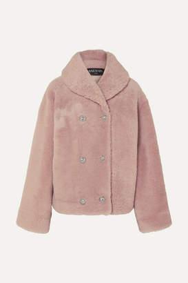 Balmain Double-breasted Shearling Coat - Pink