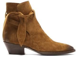 Saint Laurent Tie Side Suede Ankle Boots - Womens - Tan