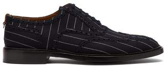 Burberry Lennard Pinstriped Canvas Brogues - Mens - Blue