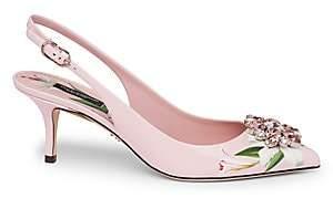 Dolce & Gabbana Women's Crystal Floral Leather Slingbacks