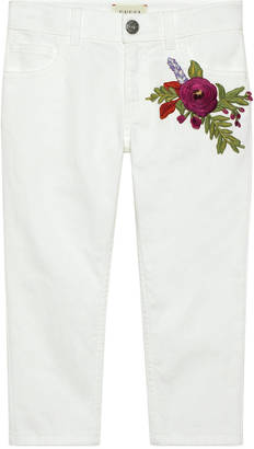 Children's denim pant with flowers $370 thestylecure.com