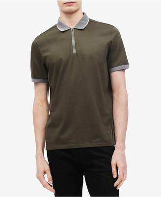 Calvin Klein Men's Contrast Zipper Tape Polo