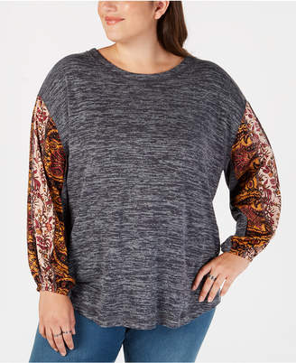 Style&Co. Style & Co Plus Size Colorblocked Bubble-Sleeve Top, Created for Macy's