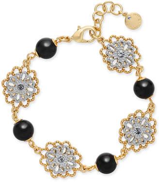 Charter Club Two-Tone Crystal Flower & Jet Imitation Pearl Link Bracelet