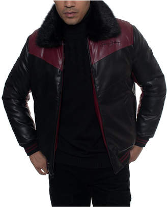 Sean John Men Colorblocked Chevron Quilted Faux-Leather Bomber Jacket with Faux-Fur Trim