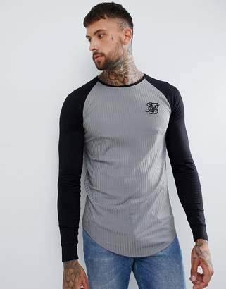 SikSilk raglan t-shirt in gray rib