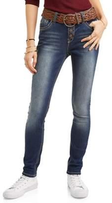 Wallflower Juniors' Embellished Back Pocket Ankle Jeans with Braided Belt