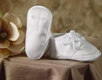 Little Things Mean a Lot Boy's Satin Shoe with Embroidered Celtic Cross (Size 1/)