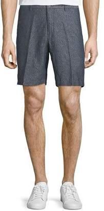 Peter Millar Paisley Chambray Flat-Front Shorts