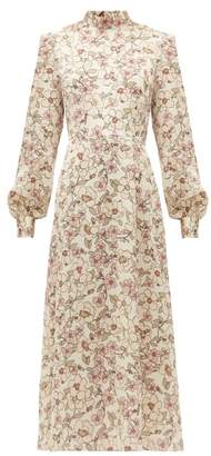 Goat Goldfinch Camelia Print Crepe Midi Dress - Womens - White Multi