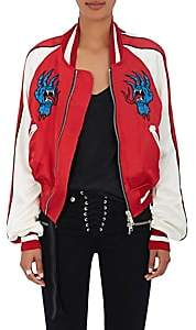 Taverniti So Ben Unravel Project Women's Distressed Satin Bomber Jacket-Red