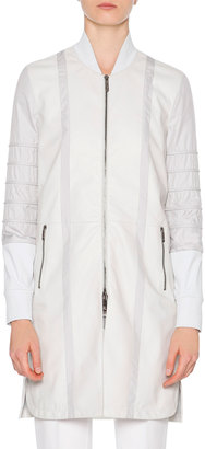 Callens Leather Combo Long Bomber Jacket, Sand $2,750 thestylecure.com